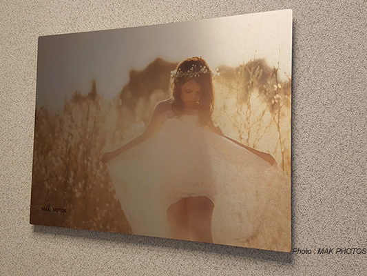 Impression photo sur aluminium brosse - Finition brillante